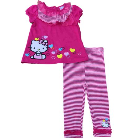 Hello Kitty Toddler Outfit (Infant Toddler Girls Hello Kitty Cat Hot Pink & White Striped Legging Outfit)