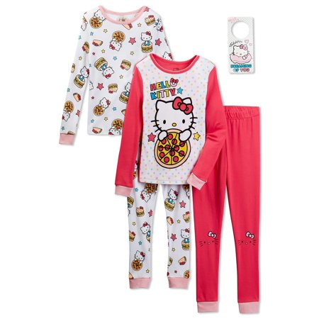 Hello Kitty Girls 4 Piece Cotton Pajama Set with Doorknob Hanger, Sizes 4-10