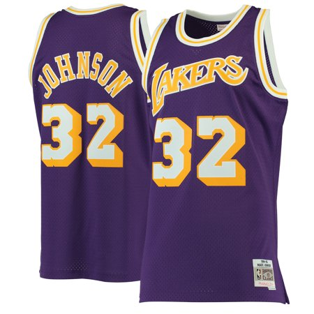 1b5f8fa861d Magic Johnson Los Angeles Lakers Mitchell   Ness 1984-85 Hardwood Classics  Swingman Jersey - Purple - Walmart.com