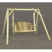 4' Natural Cedar Log-Style Outdoor Wooden Garden Swing