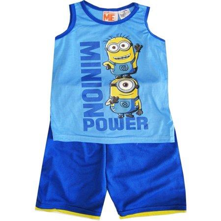 Little Boys Sky Blue Sleeveless 2 Pcs Basketball Shorts Set 4-7 - Minions Outfits