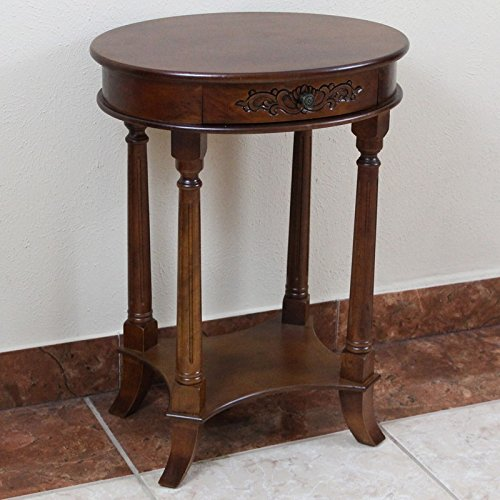 One Drawer Oval Table-Color:Brown Stain,Material:Wood
