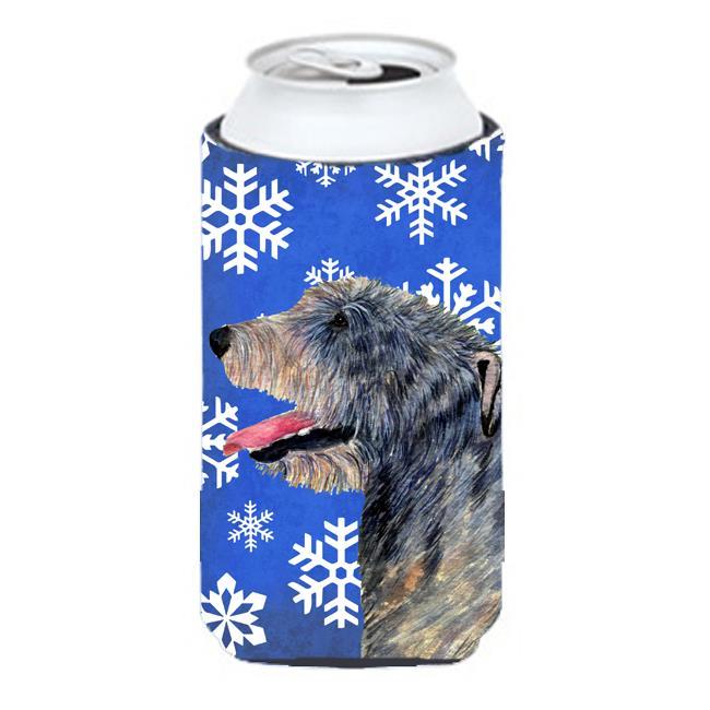 Irish Wolfhound Winter Snowflakes Holiday Tall Boy bottle sleeve Hugger 22 to 24 oz. - image 1 de 1