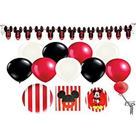 Mickey Mouse Red and White Party Pack for 16 Guests with Balloons - Sweet 16 Decorations Red And Black