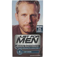 Just For Men Brush-In Mustache, Beard And Sideburns, Light Brown - Kit