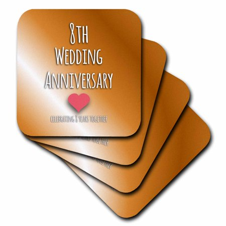 3dRose 8th Wedding Anniversary gift - Bronze celebrating 8 years together eighth anniversaries eight yrs - Ceramic Tile Coasters, set of 4](Wedding Coasters)