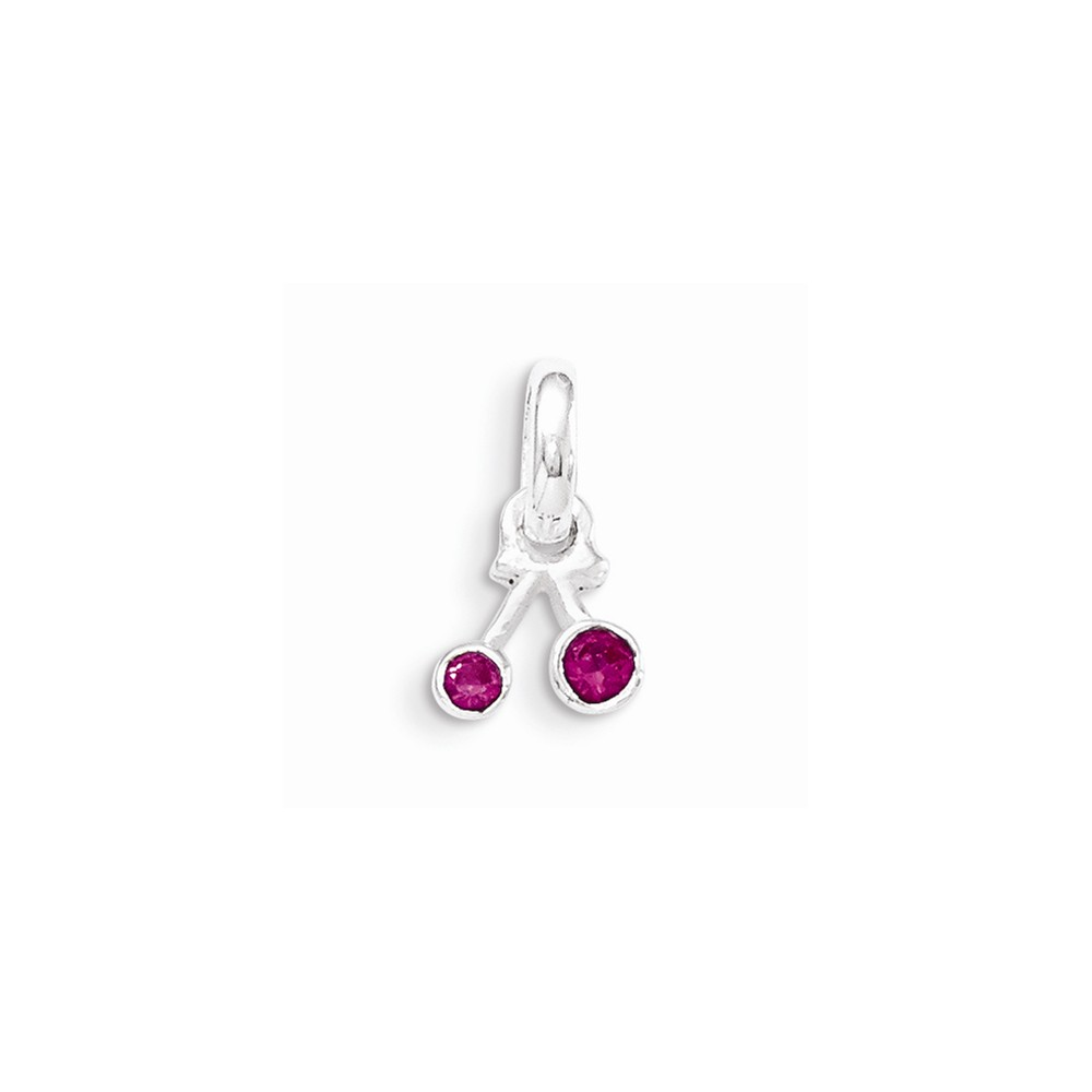 Sterling Silver Synthetic Ruby Cherry Kid's Pendant