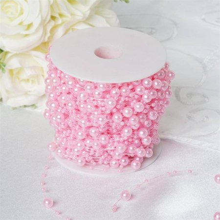 BalsaCircle 62 feet 3 mm Faux Pearl Beads Garland Roll - Wedding Party Home Crafts DIY Favors Centerpieces Fillers - Pink And Grey Baby Shower Decorations