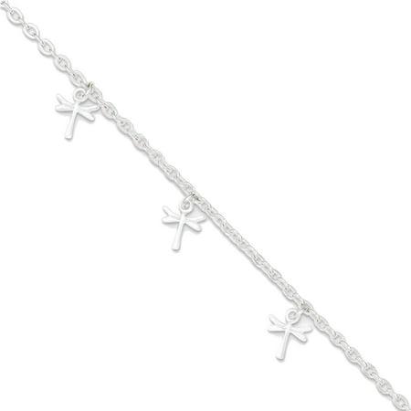 """925 Sterling Silver Dragonfly Dangles Anklet Ankle Bracelet, 9"""" + 1"""" Ext"""