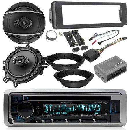 96-2013 2006-13 Harley Davidson FL Models - Kenwood CD Bluetooth Marine Receiver, 2x Pioneer 6.5