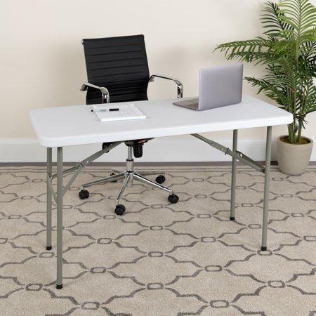 Flash Furniture 24''W x 48''L Granite White Plastic Folding Table