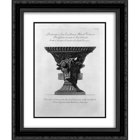Giovanni Battista Piranesi 2x Matted 20x24 Black Ornate Framed Art Print 'Antique vase of clay, which is seen in the collection designed by Pirro Ligorio in the Vatican Library'