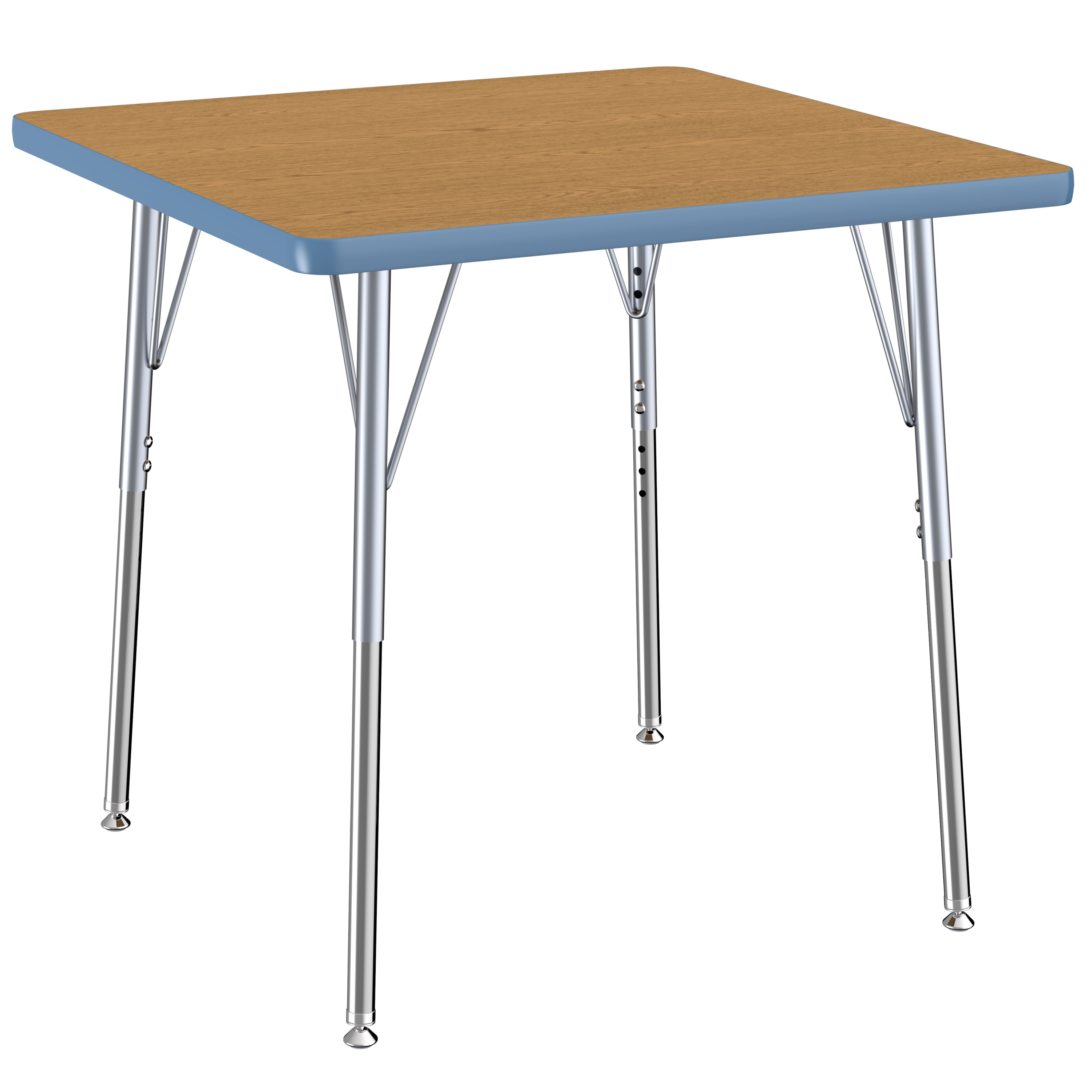 ECR4Kids 30in x 30in Square Contour Thermo-Fused Adjustable Activity Table Oak/Powder Blue/Silver - Standard Swivel