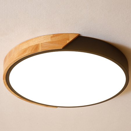 Homary LED Drum Shaped Wood & Metal & Acrylic Small Flush Mount Ceiling  Light in Black | Walmart Canada