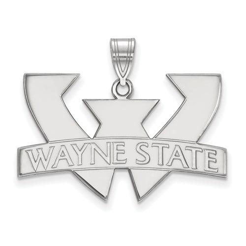 10k White Gold LogoArt Official Licensed Collegiate Wayne State University (WSU) Large Pendant