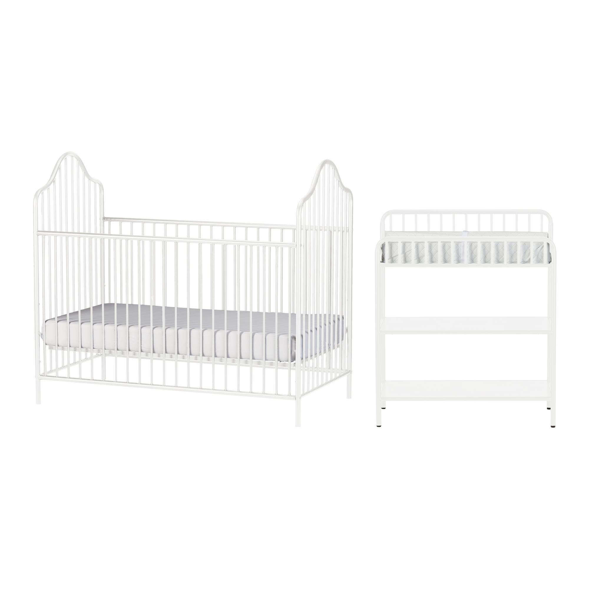 Little Seeds Rowan Valley Lanley Metal Crib and Changing Table Set, White by Little Seeds