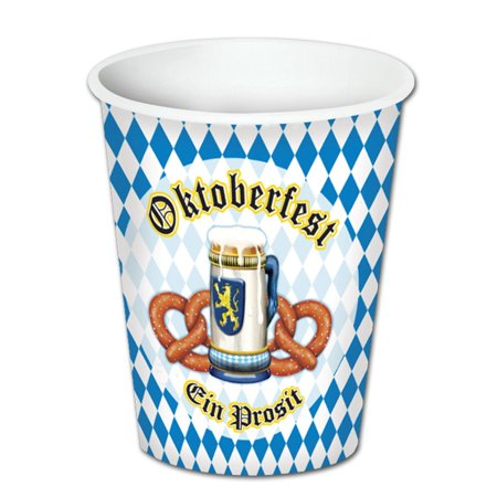 Club Pack of 96 Oktoberfest Disposable Hot and Cold Paper Beverage Cups 9oz. for $<!---->