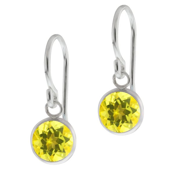 2.00 Ct Round Canary Mystic Topaz Sterling Silver bezel Earrings 6mm