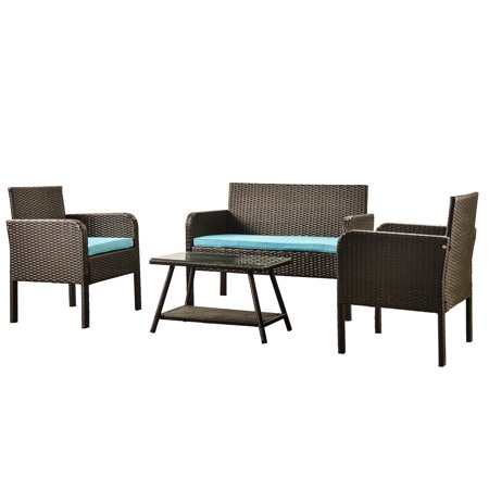 4 Piece Outdoor Furniture Wicker Patio Garden Dining Sets, Patio Furniture Rattan Furniture Sets with Seat Cushions & Tempered Glass Coffee Table, for Porch Poolside Backyard Garden, S1784