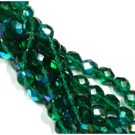 24 Firepolish Faceted Czech Glass, Loose Beads, 8mm AB Emerald