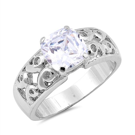 Solitaire Clear CZ Vintage Filigree Ring ( Sizes 6 7 8 9 ) .925 Sterling Silver Band Rings by Sac Silver (Size 8)