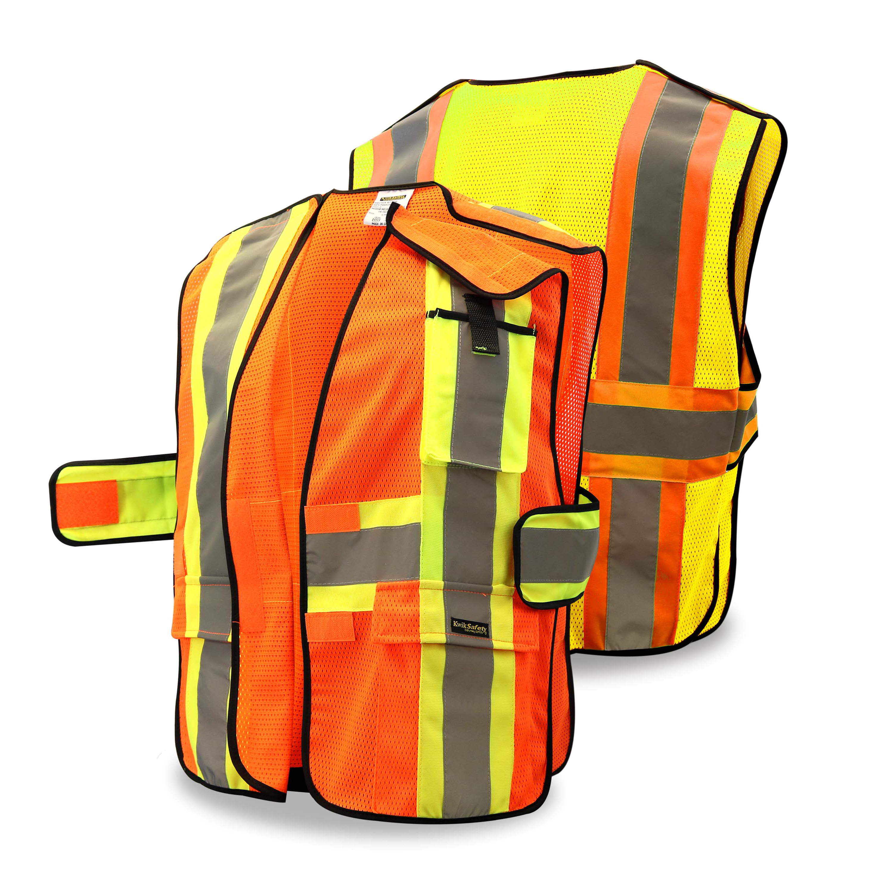 KwikSafety CAPITAL Hi Vis Reflective ANSI PPE Breakaway Class 2 Safety Vest Size: S/M, Color: Yellow