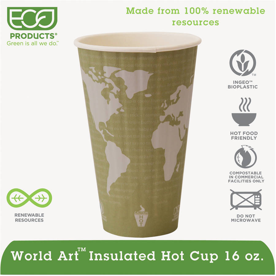 Eco-Products World Art 16 Oz Renewable & Compostable Insulated Hot Cups, 40 count, (Pack of 15)