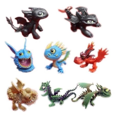 Train Cake Kit - Set of 8 Pcs How To Train Your Dragon Night Fury Toothless Action Figures Child Toys Xmas Gift Cake toppers