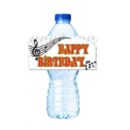 Music Notes Party Decorations 15ct Water Bottle Sticker Labels - Music Note Decorations