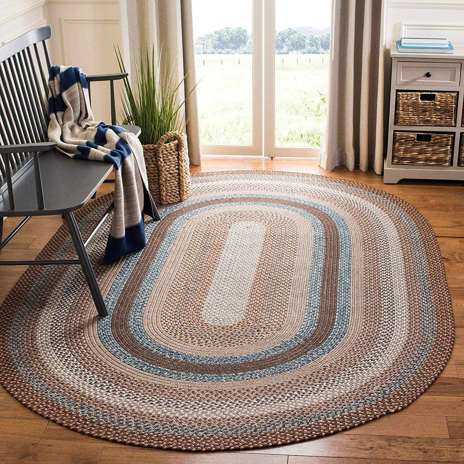 Safavieh Braided Collection Brd313a Hand Woven Brown And Multi Oval Area Rug 9 X 12 Oval Walmart Com Walmart Com