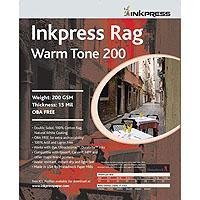 "Inkpress Rag, Warm Tone Double Sided, Cream White Matte Inkjet Paper, 15 mil., 200gsm, 13"" x 50' Roll"