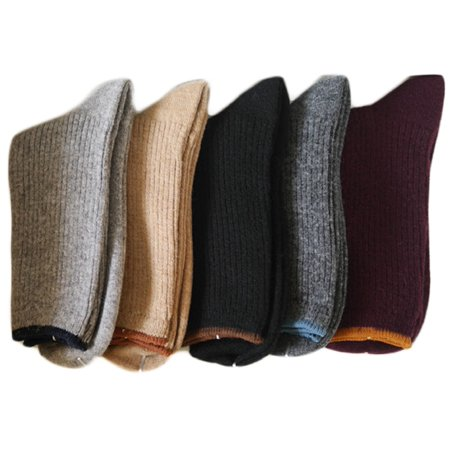 - Women's 1 Pair Cashmere Wool Socks Casual Solid Size 7-9(Black)