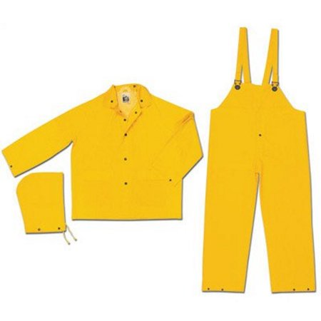 Yellow Classic .35 mm Polyester And PVC 3-Piece Rain Suit With Detachable Hood And Bib Pants