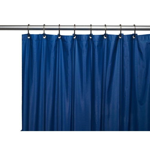 3 Gauge Vinyl Shower Curtain Liner w/ Weighted Magnets and Metal Grommets in Navy
