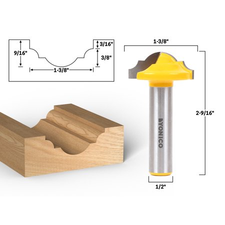 "1-3/8"" Dia. Classical Roman Ogee Panel CNC Cabinet Door Rail & Stile Router Bit - 1/2"" Shank - Yonico 13025"