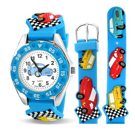 Boys Race Car Driver Wheels Blue Kids Sports Watch