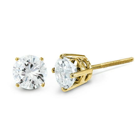 14kt Yellow Gold .05ct. Vs2/si1 G I Diamond Stud Thread On/off Post Earrings Ball Button St Type Fine Jewelry Ideal Gifts For Women Gift Set From Heart American Pearl Com Yellow Earrings