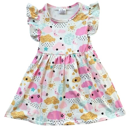 Toddler Girls Lovely Cap Sleeve Cloud Rain Moon Cotton Birthday Party Girl Dress Off White 2T XS (P201392P) (Cloud Party)