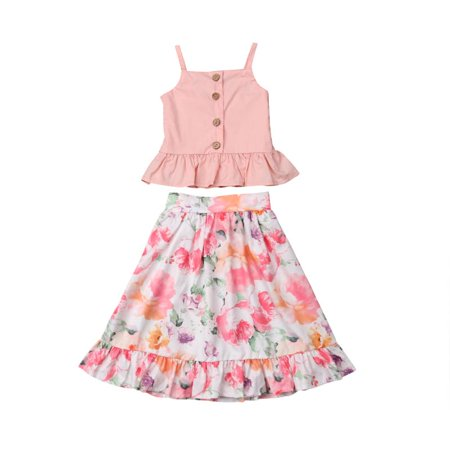Infant Girl Two Pieces Floral Print Outfits Sets Straps Ruffles Pullover Tops+Maxi Skirt Long Flare -