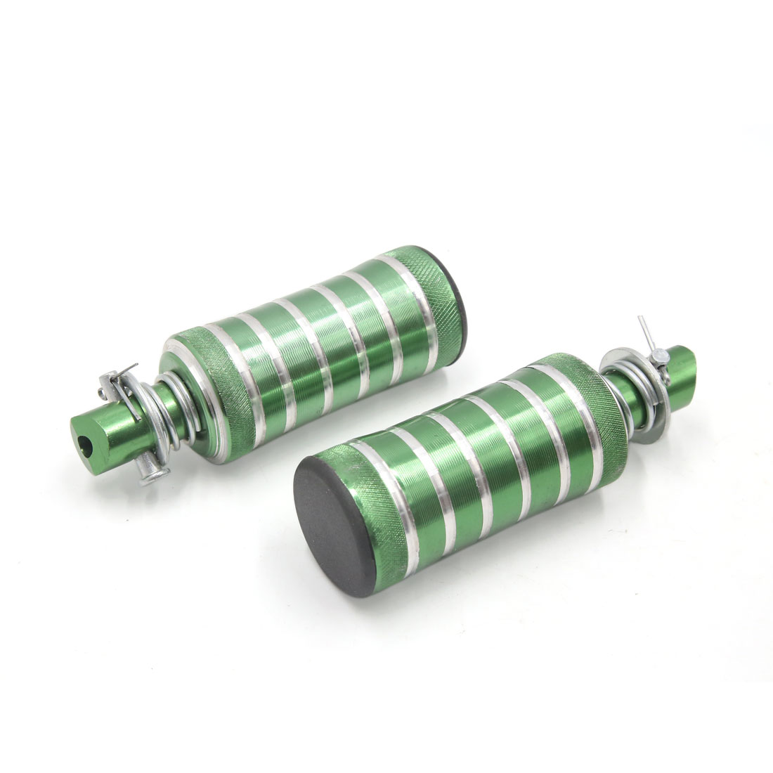 2 Pcs Green Silver Tone Cylinder Shaped Motorcycle Rear Foot Rests Pegs Pedals