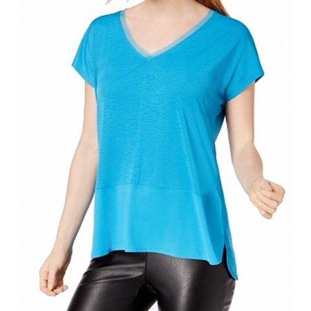 Womens Medium V-Neck Contrast Fabric Hem Top M