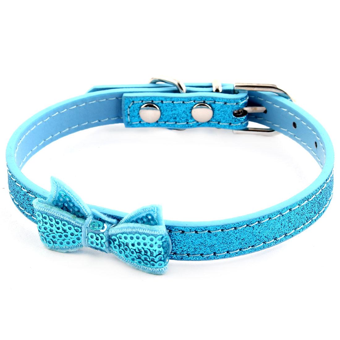 Pet Cat Training Bowknot Shape Decor PU Leather Adjustable Belt Neck Collar Blue
