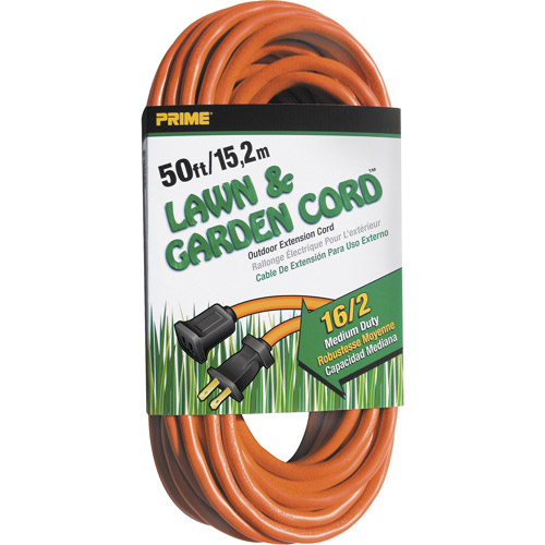Prime Wire 50-Foot 16/2 SJTW Lawn and Garden Outdoor Extension Cord, Orange