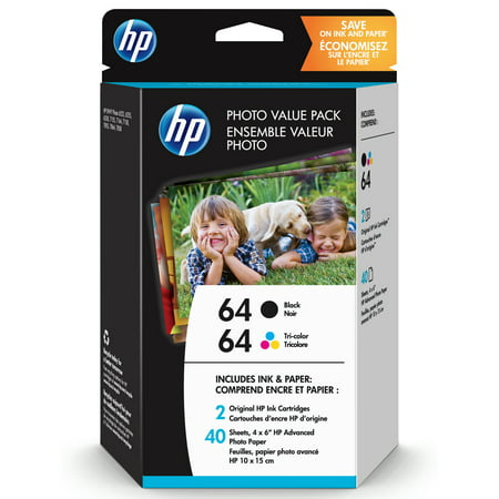 HP 64 Black & Tri-Color Original Ink, 2 Cartridges and 40 Sheets Photo Paper - 4500 Photo Ink