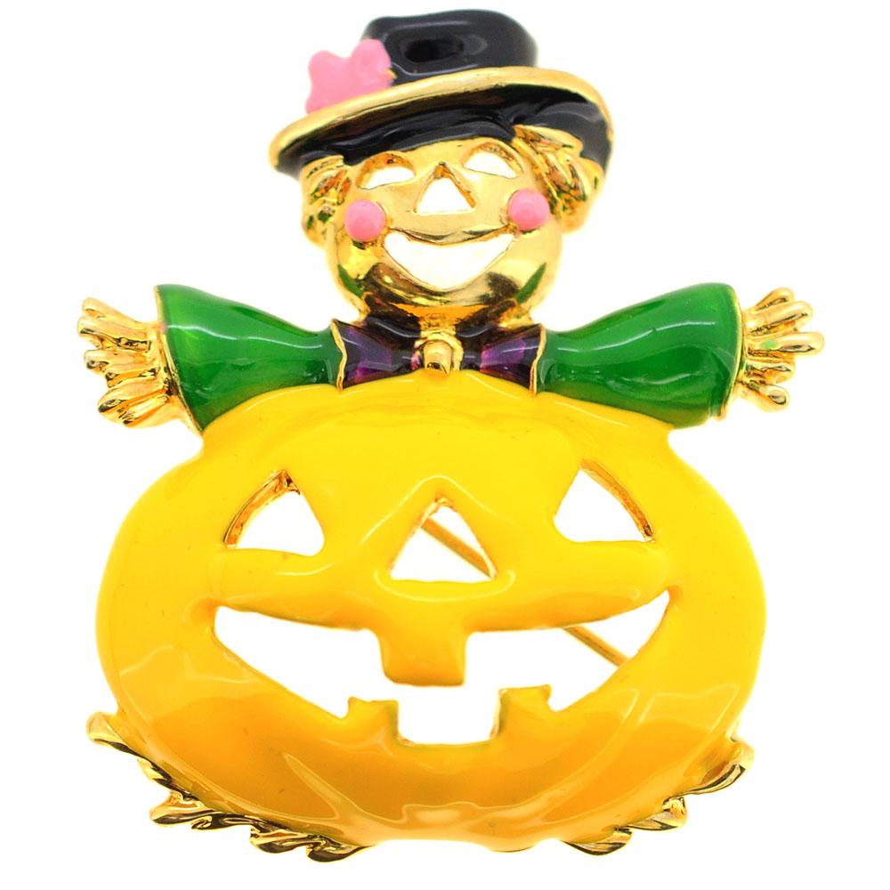 Halloween Enamel Yellow Pumpkin Brooch Pin by