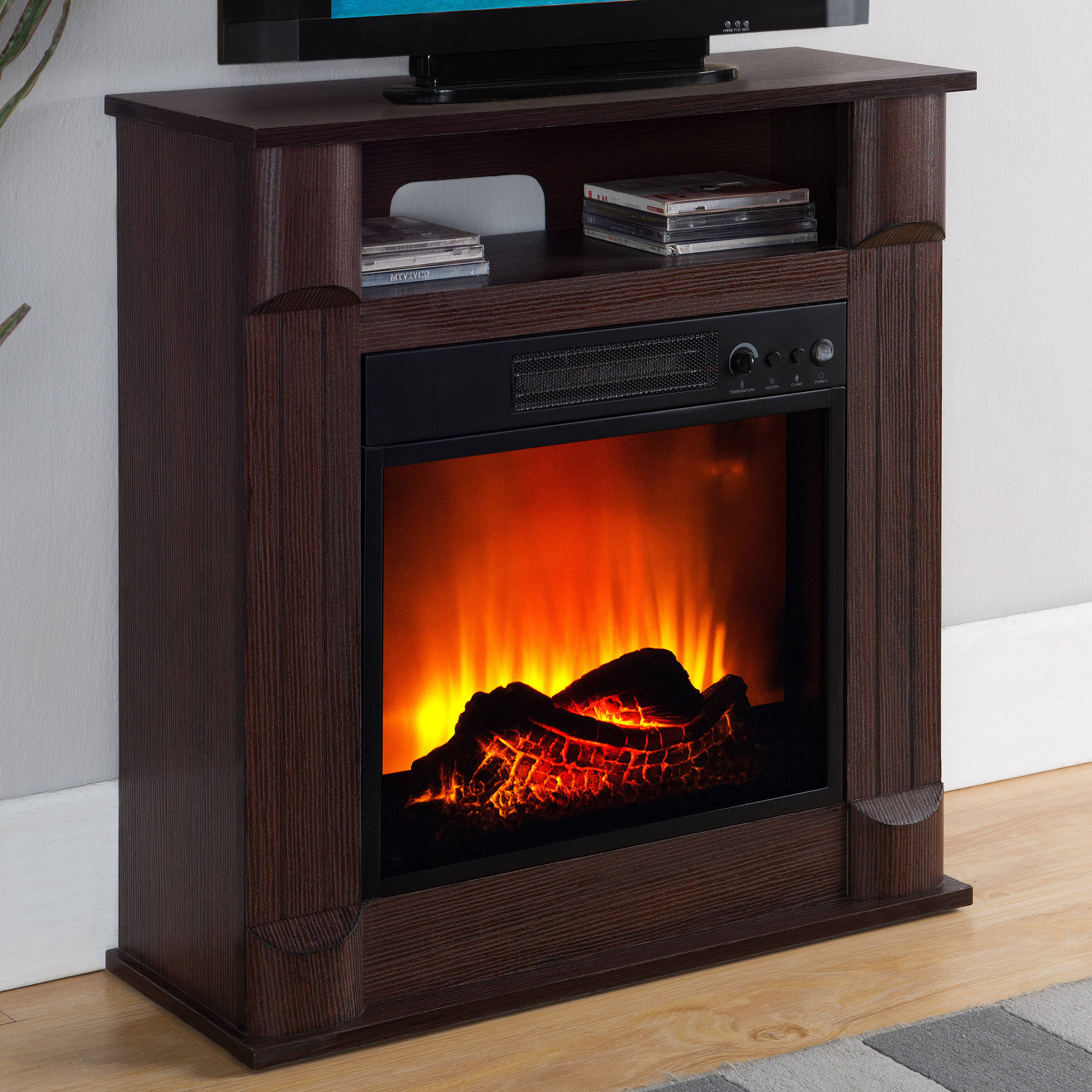 "Prokonian Electric Fireplace with 26"" Mantle, Dark Cherry"
