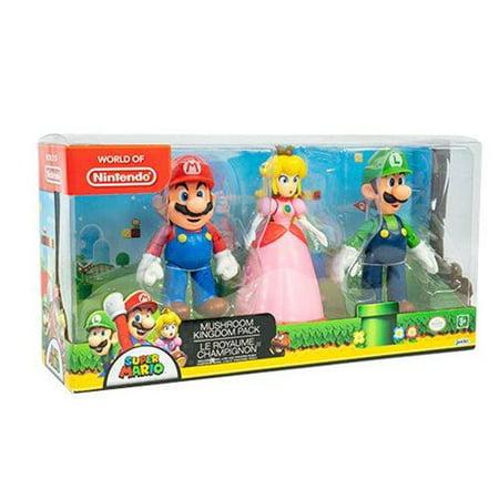 Jakks Pacific World of Nintendo Mushroom Kingdom Pack Set Mario Peach Luigi