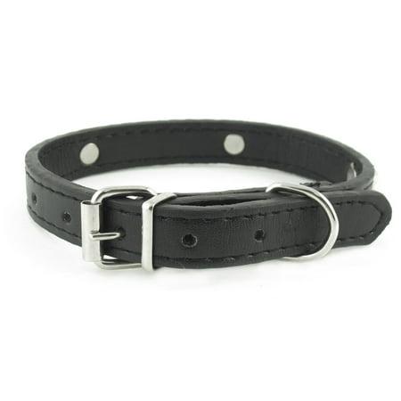 Unique Bargains 1.4cm Wide Black One Pin Adjustable Faux Leather Bone Accent Pet Neck Collar