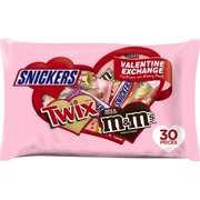 M&M'S, SNICKERS & TWIX Valentine Exchange Fun Size Candy Variety Mix 16.1-Ounce 30-Count