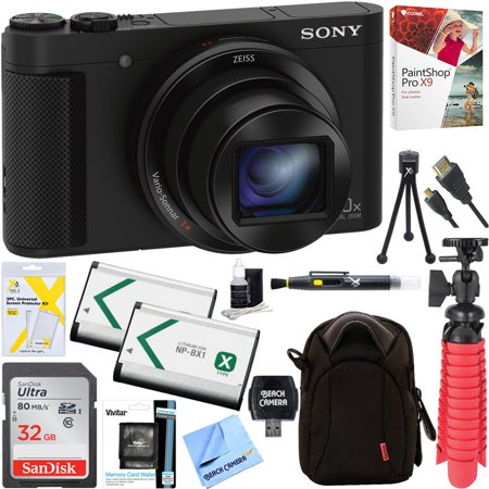 Cyber Shot Camera Camcorders (Sony Cyber-shot HX80 Compact Digital Camera with 30x Optical Zoom (Black) + 32GB SDHC Memory Dual Battery Kit + Accessory Bundle )
